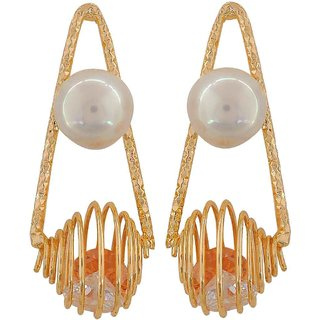 Maayra Fantastic White Pearl Cocktail Drop Earrings