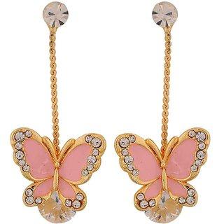 Maayra Sparkling Pink Gold Designer Get-Together Tassel Earrings