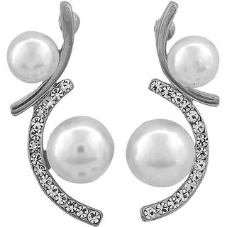 Maayra Lively White Silver Pearl Party Drop Earrings