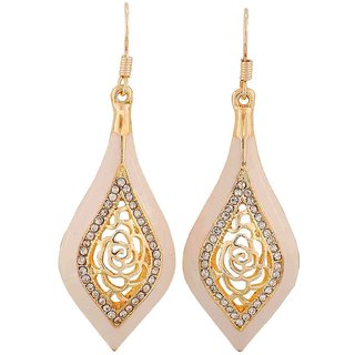 Maayra Graceful White Gold Designer Cocktail Dangler Earrings