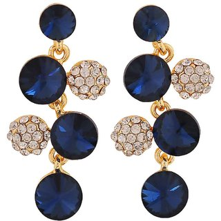 Maayra Sexy Blue Stone Crystals Get-Together Drop Earrings