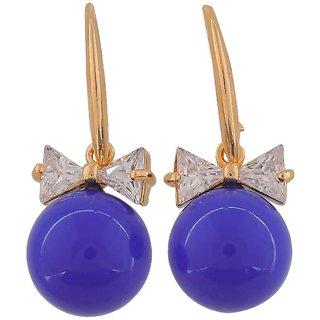 Maayra Unique Blue Pearl College Dangler Earrings