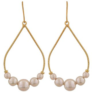 Maayra Terrific White Pearl Party Dangler Earrings