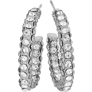 Maayra Fantastic Silver Stone Crystals Cocktail Drop Earrings