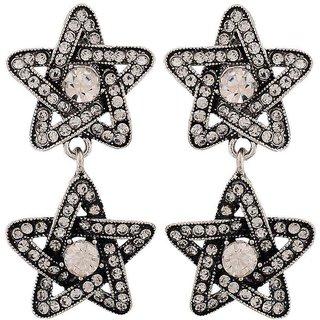 Maayra Fab Silver Stone Crystals Casualwear Drop Earrings