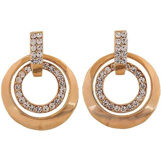 Maayra Smart Gold Stone Crystals College Drop Earrings