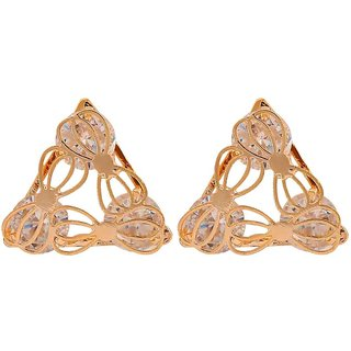 Maayra Stylish Gold Stone Crystals Casualwear Stud Earrings