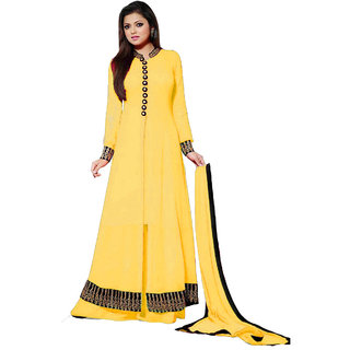 sitaramWomens yellow indo-westurn gown in georgette material.