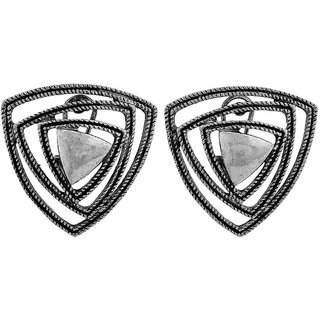 Maayra Beautiful Silver Indian Ethnic Party Clip On Earrings