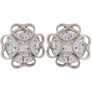 Maayra Exquisite Silver Stone Crystals Get-Together Stud Earrings