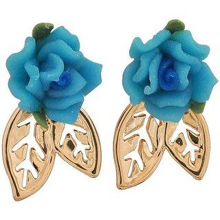 Maayra Trendy Blue Gold Indian Ethnic Casualwear Drop Earrings
