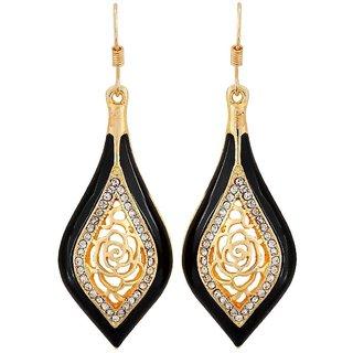 Maayra Bright Black Gold Designer Party Dangler Earrings