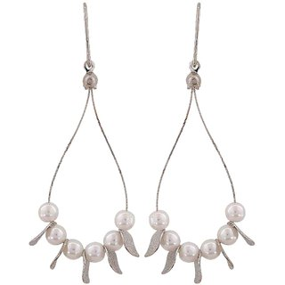Maayra Cool White Silver Pearl Cocktail Dangler Earrings