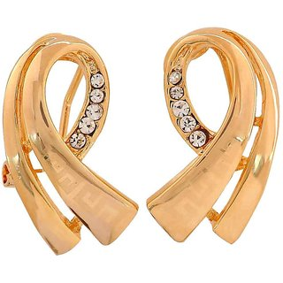 Maayra Suave Gold Designer Casualwear Clip On Earrings
