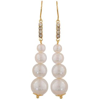 Maayra Plush White Gold Pearl Party Dangler Earrings