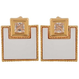 Maayra Modern White Gold Designer Cocktail Drop Earrings