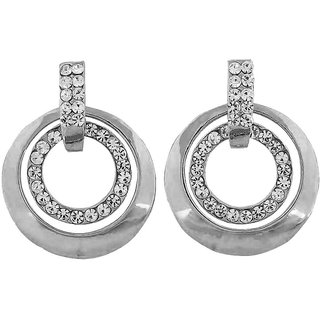 Maayra Awesome Silver Stone Crystals College Drop Earrings