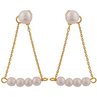 Maayra Cute White Gold Pearl Party Drop Earrings