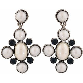 Maayra Darling White Blue Pearl Party Drop Earrings