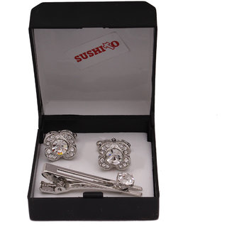 Sushito Traditional Silver Cufflink With Tie Pin JSMFHMA0748