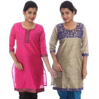 HiFi Womens Ethnic Silk Kurti Pack of 2 115-125-F