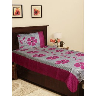 Homefab India Cotton Single Bed Sheet with 1 Pillow Covers