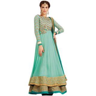 Georgett Anarkali Full length Semi Stitch Dress Material For Womens