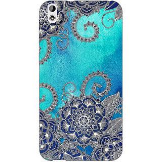 Jugaaduu Blue Doodle Pattern Back Cover Case For HTC Desire 816G - J1070209