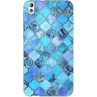Jugaaduu Blue Moroccan Tiles Pattern Back Cover Case For HTC Desire 816 Dual Sim - J1060287