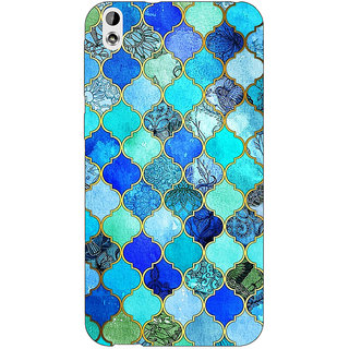 Jugaaduu Dark Blue Moroccan Tiles Pattern Back Cover Case For HTC Desire 816 Dual Sim - J1060290