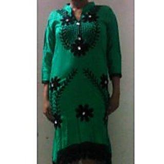 Embroidered green kurti