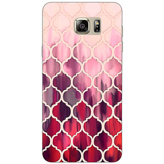 Jugaaduu White Red Moroccan Tiles Pattern Back Cover Case For Samsung S6 Edge+ - J900299