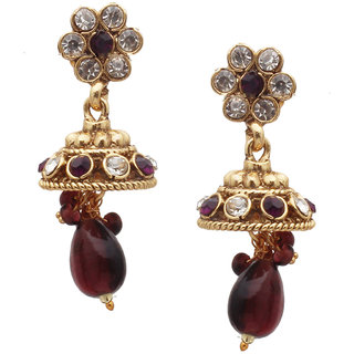 Designer Polki Cup Crystal Brass Jhumki Earring