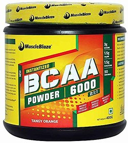 MuscleBlaze BCAA 6000  400g (50 Servings) Tangy Orange