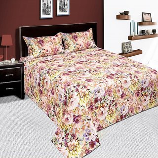 Dwarika International Multi-Color Floral Double Bed-Sheet