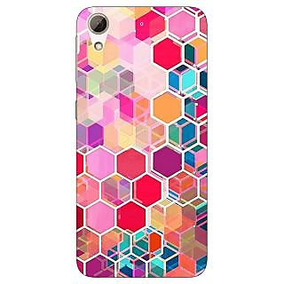 Jugaaduu Red Blue Hexagons Pattern Back Cover Case For HTC Desire 626G - J930274