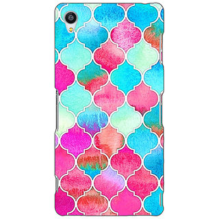 Jugaaduu Blue Pink Moroccan Tiles Pattern Back Cover Case For Sony Xperia Z4 - J580295