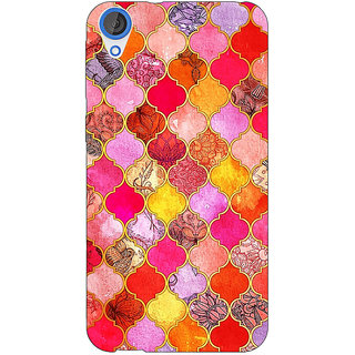 Jugaaduu Red Moroccan Tiles Pattern Back Cover Case For HTC Desire 826 - J590289