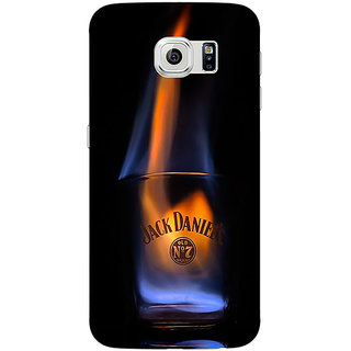 Jugaaduu Jack Daniels JD Whisky Flaming Back Cover Case For Samsung S6 Edge - J601212