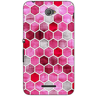 Jugaaduu Red Hexagons Pattern Back Cover Case For Sony Xperia E4 - J620269