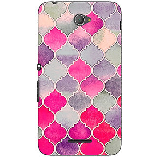 Jugaaduu Pink Grey Moroccan Tiles Pattern Back Cover Case For Sony Xperia E4 - J620293