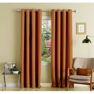 Lushomes Coffee Polyester Blackout Curtains with 8 Eyelets for Long Door