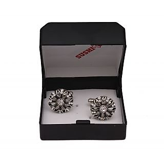 Sushito Floral Rajasthani Silver Cufflink