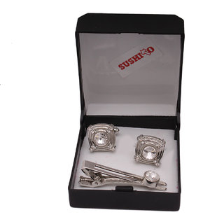 Sushito Design Stylish Silver Cufflink With Tie Pin