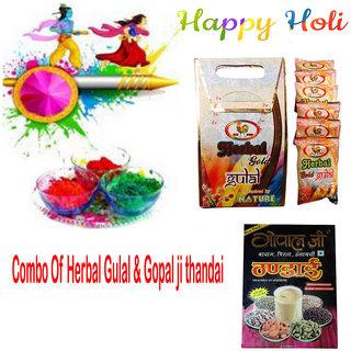Combo Of Herbal Gulal Cock Brand Pack Of 6 (each 80gm)  Gopal Ji Thandai 100gm