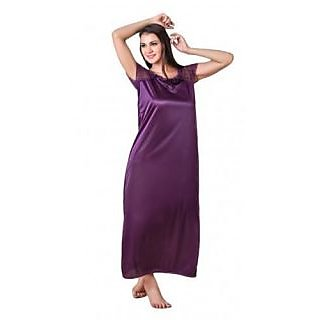 Hot satin purple-color nighty gown,Night dress for ladies