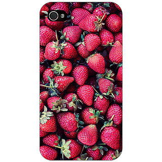 Jugaaduu Strawberry Pattern Back Cover Case For Apple iPhone 4 - J10201