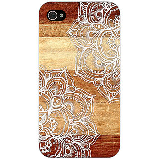 Jugaaduu White Brown Doodle Pattern Back Cover Case For Apple iPhone 4 - J10212