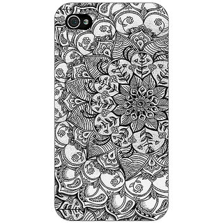 Jugaaduu Black And White Doodle Pattern Back Cover Case For Apple iPhone 4 - J10215