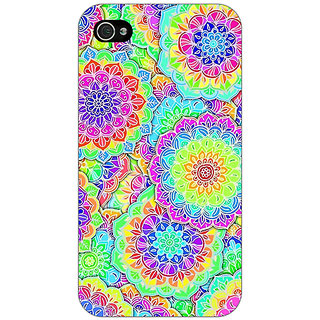 Jugaaduu Psychdelic Floral  Pattern Back Cover Case For Apple iPhone 4 - J10235